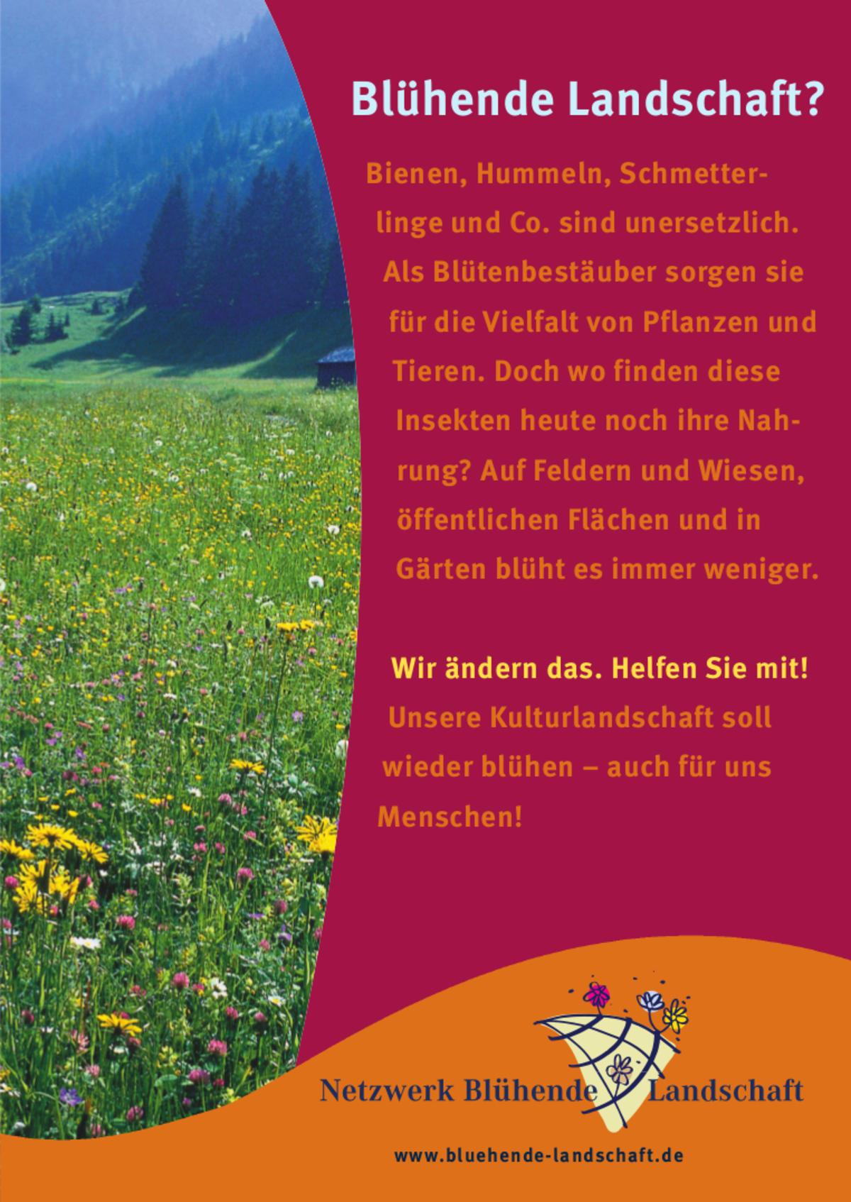 Werbeplakat Blühende Landschaft A3 - Mellifera e. V.